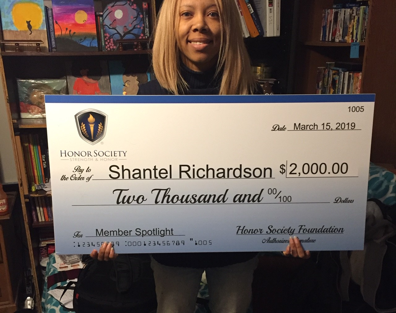 Shantal Richardson is the recipient of the Honor Society Foundation $2,000 Member spotlight recipient.